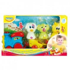 Дитяча пластикова іграшка 57077, паравозик, свет, звук, фигурки звук, 33*8,5*19,5