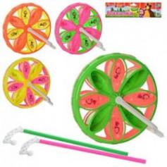 Каталка MM 0064 U (120шт) ММ, на палке, колесо 21см, 4 цвета, в кульке, 26-28-6см