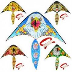 Воздушный змей M 2893 (100шт) ширина100см,длина52см,хвост50см,струна30м,ткань,5вид,в кульке,9-73-1см