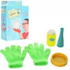 Мыльные пузыри 0598 (144шт) игра, дудка, перчатки 2шт, запаска 80мл, в кор-ке, 14-21-6см