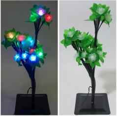 Дерево свет.,с фонариками,на подставке (зеленое), 32см, без коробки